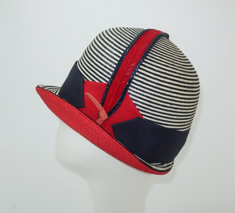 e246a462793 Mod 1960 s Yves Saint Laurent Red White   Blue Straw Hat In Good Condition  For Sale