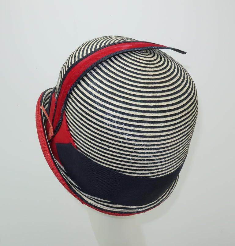Women's Mod 1960's Yves Saint Laurent Red White & Blue Straw Hat For Sale
