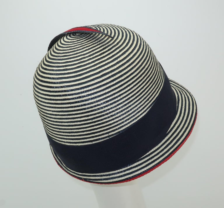 Mod 1960's Yves Saint Laurent Red White & Blue Straw Hat For Sale 1