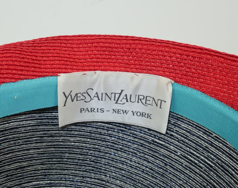 Mod 1960's Yves Saint Laurent Red White & Blue Straw Hat For Sale 8