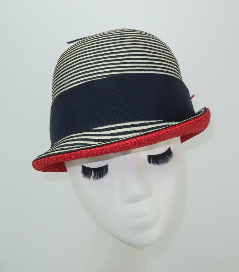 Mod 1960's Yves Saint Laurent Red White & Blue Straw Hat For Sale 3