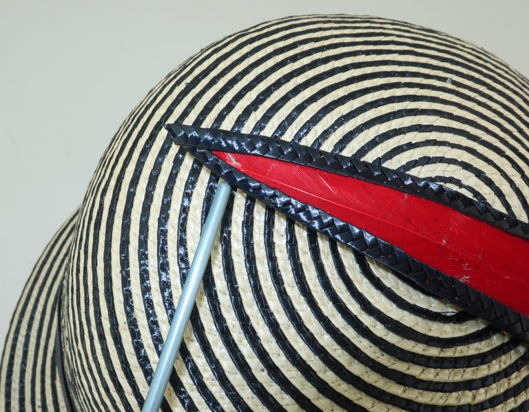 Mod 1960's Yves Saint Laurent Red White & Blue Straw Hat For Sale 6