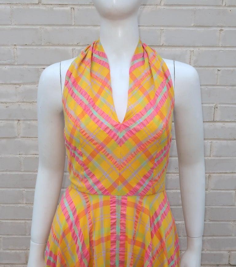 Women's Christian Dior Seersucker Plaid Cotton Halter Peasant Dress, 1960s  For Sale