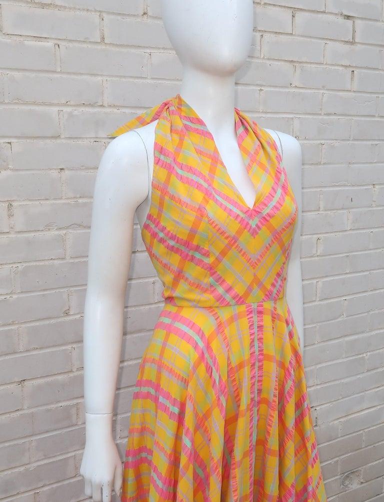 Orange Christian Dior Seersucker Plaid Cotton Halter Peasant Dress, 1960s  For Sale