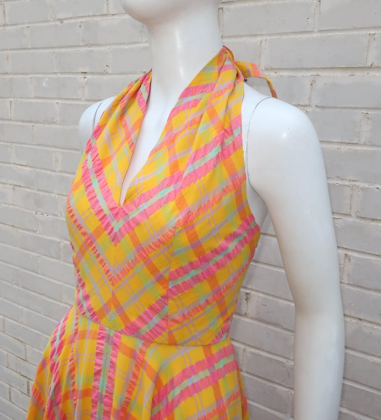 Christian Dior Seersucker Plaid Cotton Halter Peasant Dress, 1960s  For Sale 2