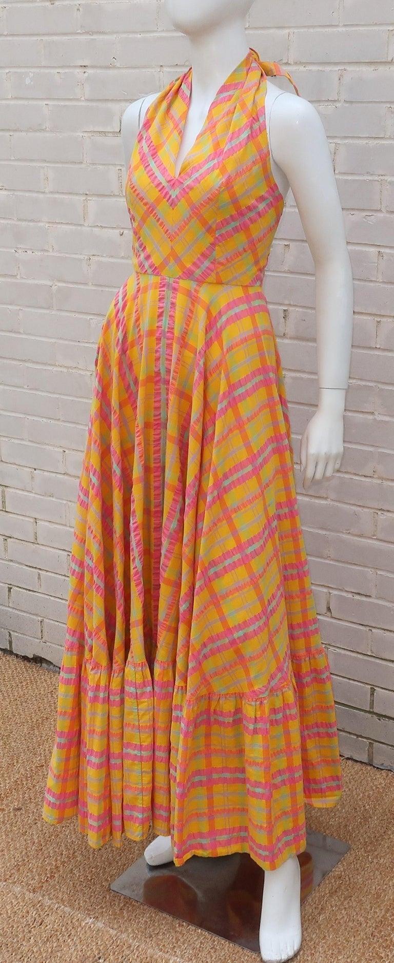 Christian Dior Seersucker Plaid Cotton Halter Peasant Dress, 1960s  For Sale 3