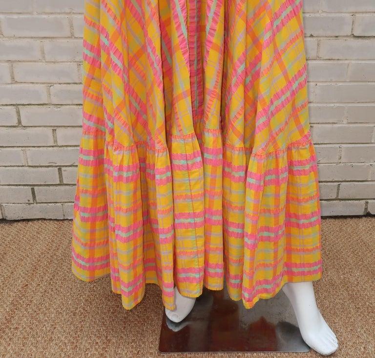 Christian Dior Seersucker Plaid Cotton Halter Peasant Dress, 1960s  For Sale 1