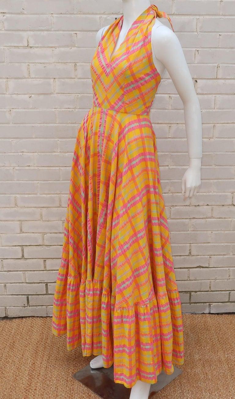 Christian Dior Seersucker Plaid Cotton Halter Peasant Dress, 1960s  For Sale 4