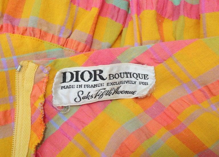 Christian Dior Seersucker Plaid Cotton Halter Peasant Dress, 1960s  For Sale 7