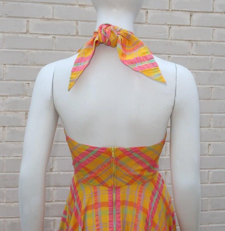 Christian Dior Seersucker Plaid Cotton Halter Peasant Dress, 1960s  For Sale 6