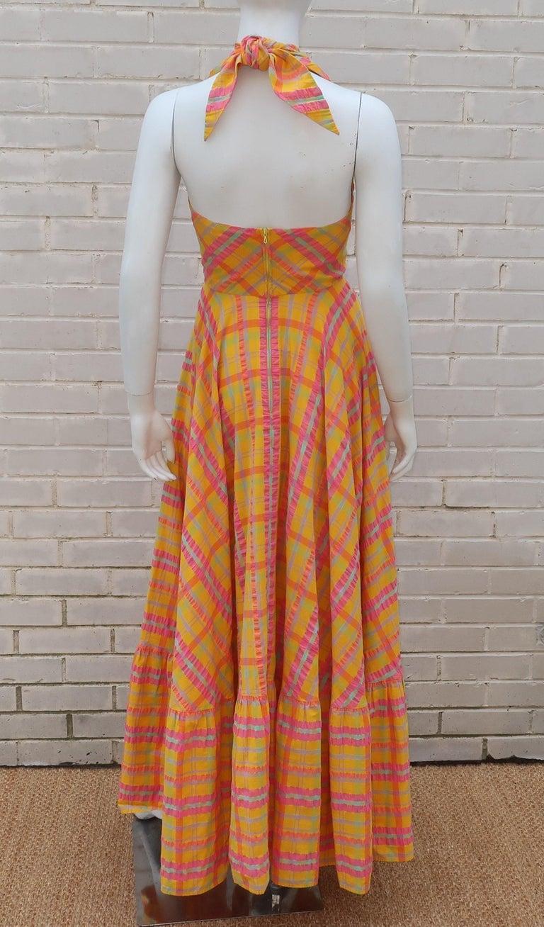 Christian Dior Seersucker Plaid Cotton Halter Peasant Dress, 1960s  For Sale 5