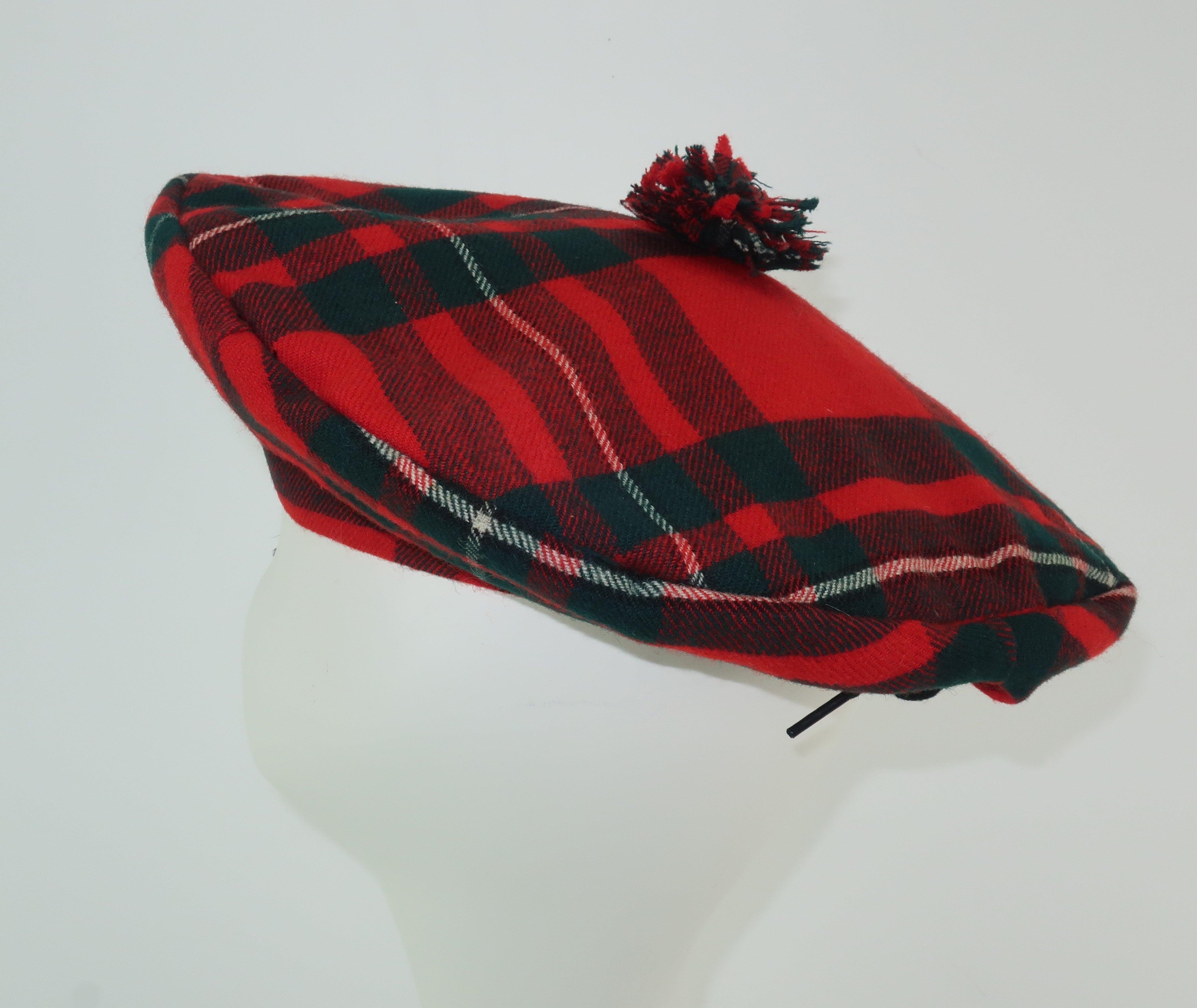 8577e09ee Tartan House Vintage Plaid Wool Tartan Tam Beret Hat