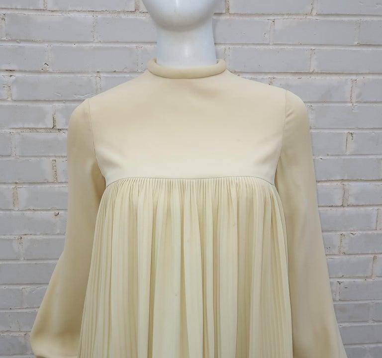 Beige 1960's Pierre Cardin Micro Pleated Silk Trapeze Dress For Sale