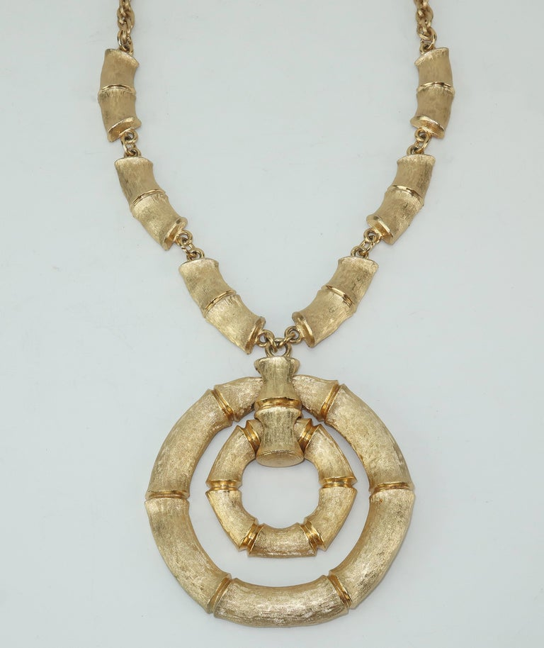 Get a little Palm Beach style with this gold tone bamboo inspired set by the venerable American costume jewelry company, Napier.  All pieces are fabricated with an attention to quality details and feature a textured gold tone finish with articulated