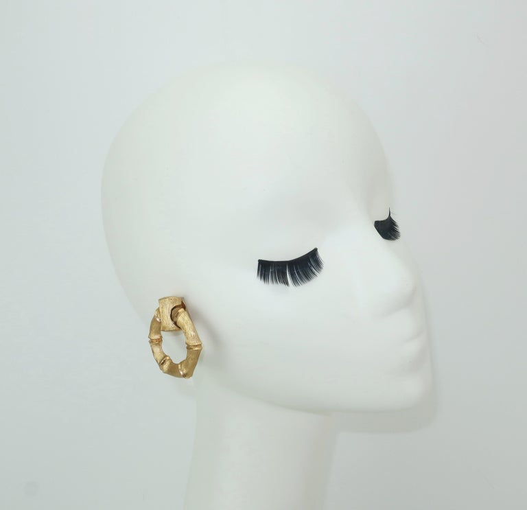1970's Napier Gold Tone Bamboo Necklace & Earrings Set For Sale 5