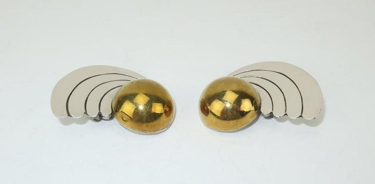 Women's C.1980 Taxco Mexican Artisan Sterling Silver & Brass Earrings For Sale