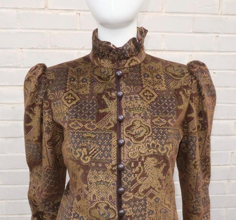 Black 1970's Jean Louis Scherrer Brown Velvet Skirt Suit With Tapestry Style Jacket For Sale