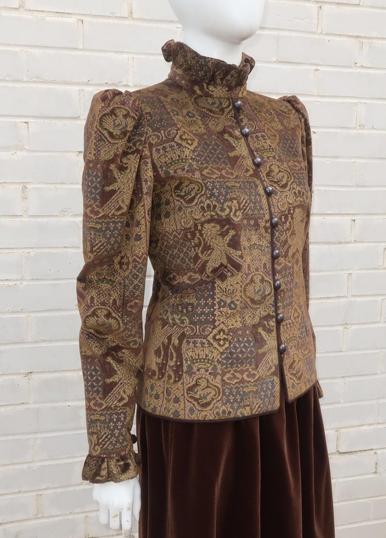 1970's Jean Louis Scherrer Brown Velvet Skirt Suit With Tapestry Style Jacket In Good Condition For Sale In Atlanta, GA