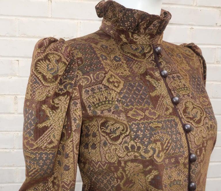 Women's 1970's Jean Louis Scherrer Brown Velvet Skirt Suit With Tapestry Style Jacket For Sale