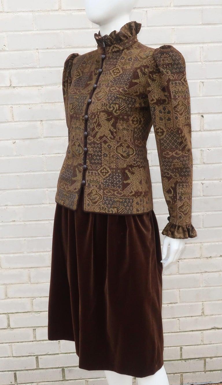 1970's Jean Louis Scherrer Brown Velvet Skirt Suit With Tapestry Style Jacket For Sale 1