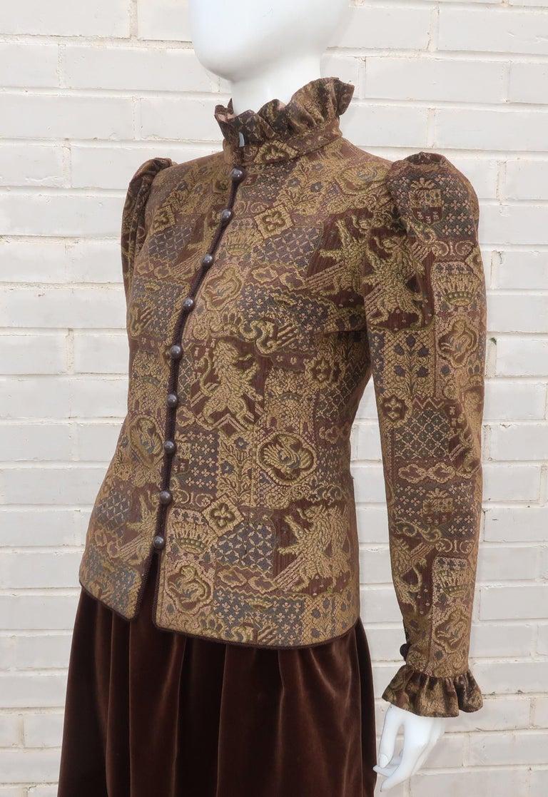 1970's Jean Louis Scherrer Brown Velvet Skirt Suit With Tapestry Style Jacket For Sale 2