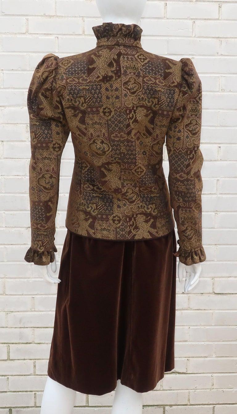 1970's Jean Louis Scherrer Brown Velvet Skirt Suit With Tapestry Style Jacket For Sale 3