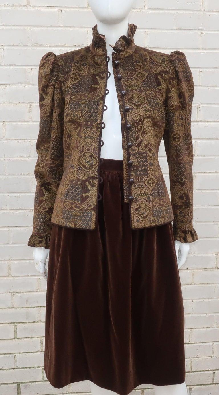 1970's Jean Louis Scherrer Brown Velvet Skirt Suit With Tapestry Style Jacket For Sale 4