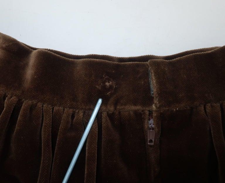 1970's Jean Louis Scherrer Brown Velvet Skirt Suit With Tapestry Style Jacket For Sale 8