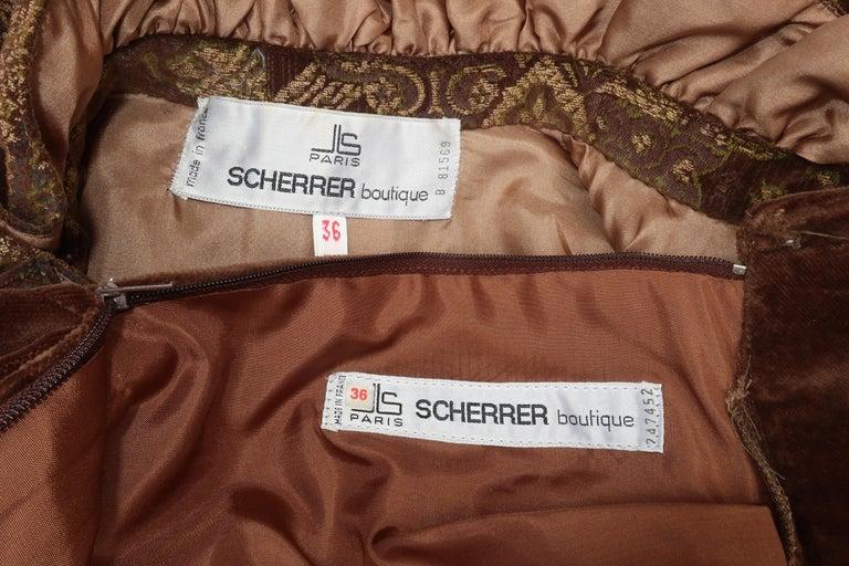 1970's Jean Louis Scherrer Brown Velvet Skirt Suit With Tapestry Style Jacket For Sale 9