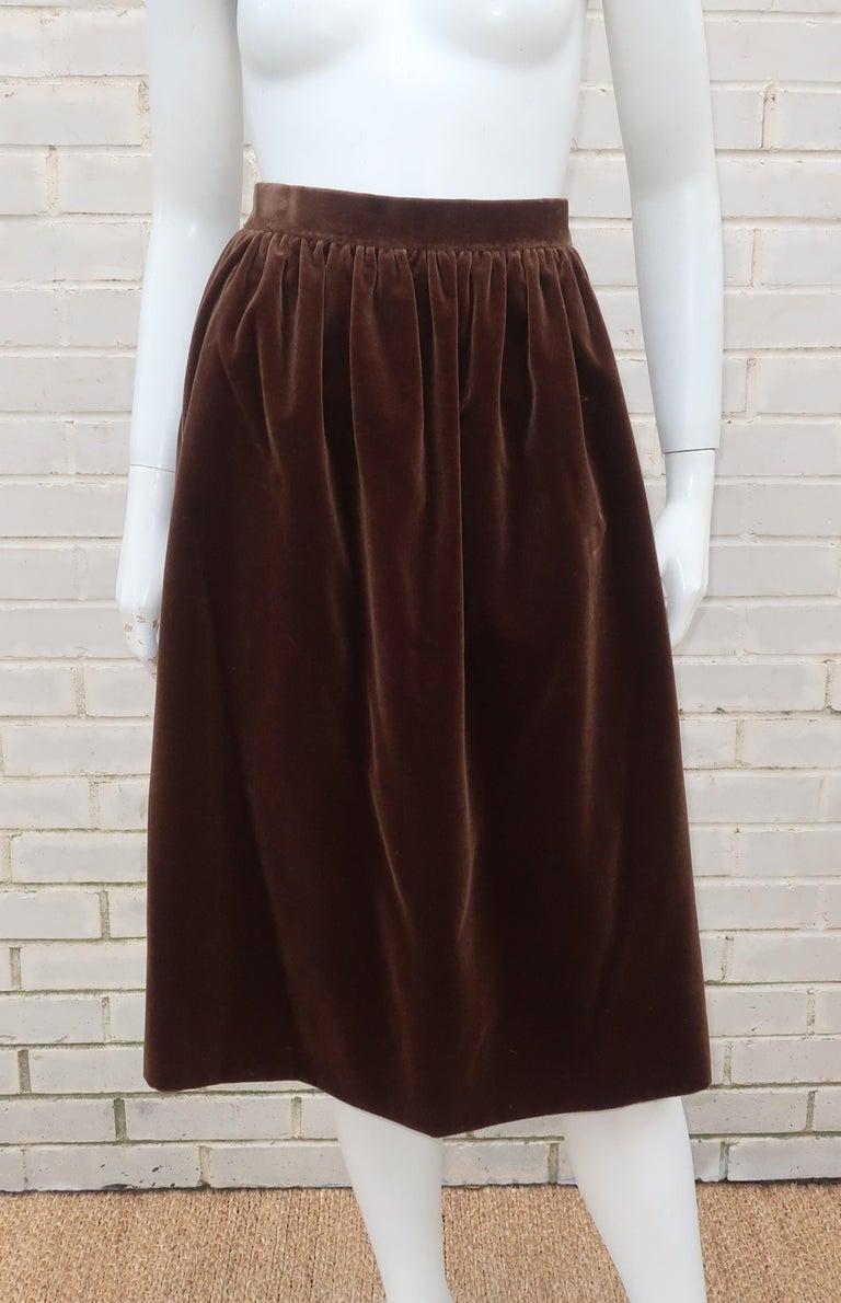 1970's Jean Louis Scherrer Brown Velvet Skirt Suit With Tapestry Style Jacket For Sale 6
