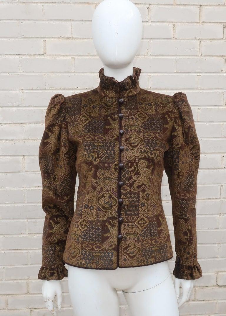 1970's Jean Louis Scherrer Brown Velvet Skirt Suit With Tapestry Style Jacket For Sale 5