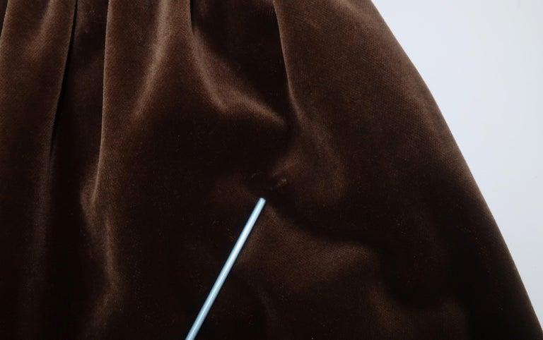 1970's Jean Louis Scherrer Brown Velvet Skirt Suit With Tapestry Style Jacket For Sale 7