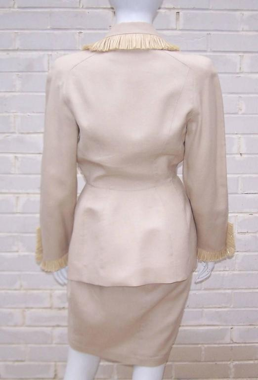 Beige c.1990 Thierry Mugler Linen Skirt Suit with Raffia Trim For Sale