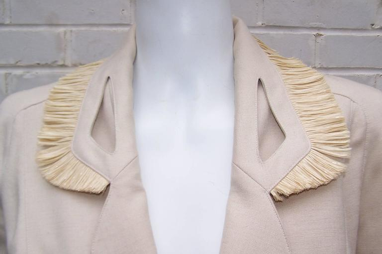 c.1990 Thierry Mugler Linen Skirt Suit with Raffia Trim In Good Condition For Sale In Atlanta, GA
