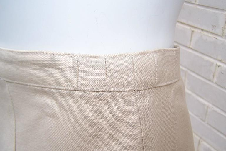 c.1990 Thierry Mugler Linen Skirt Suit with Raffia Trim For Sale 2