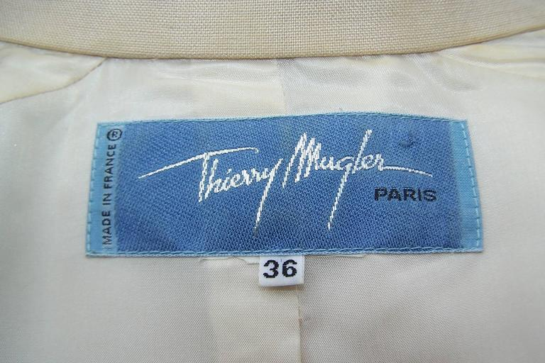 c.1990 Thierry Mugler Linen Skirt Suit with Raffia Trim For Sale 3