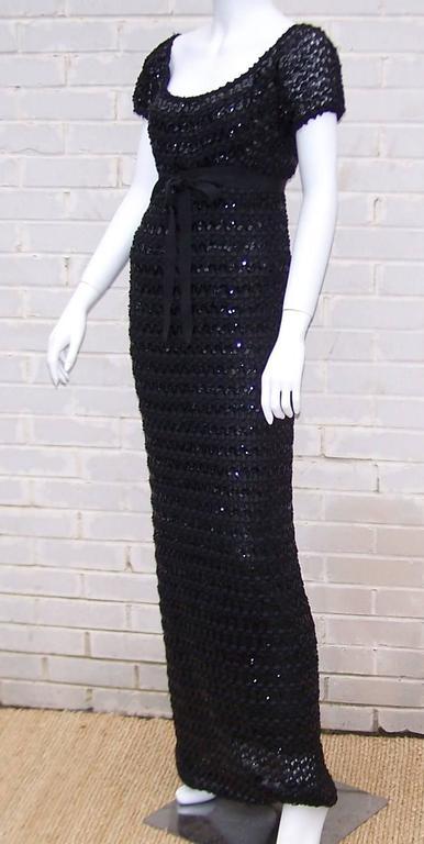 Black c.1970 Anne Fogarty Bombshell Ribbon Crochet Sequin Dress