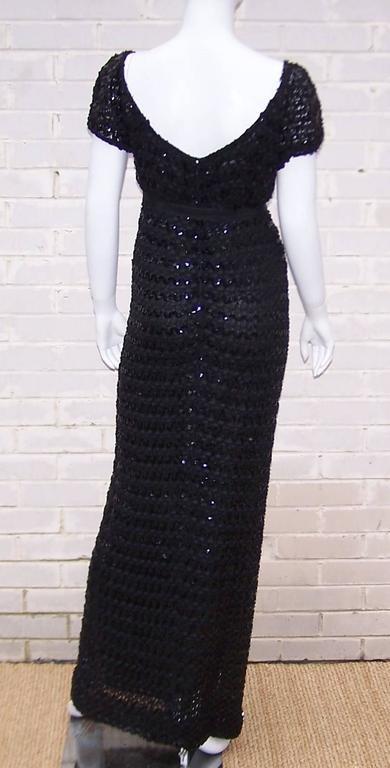 c.1970 Anne Fogarty Bombshell Ribbon Crochet Sequin Dress In Excellent Condition In Atlanta, GA