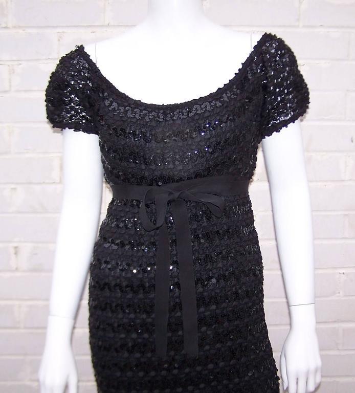 Women's c.1970 Anne Fogarty Bombshell Ribbon Crochet Sequin Dress