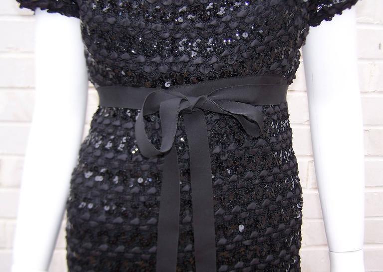 c.1970 Anne Fogarty Bombshell Ribbon Crochet Sequin Dress 3