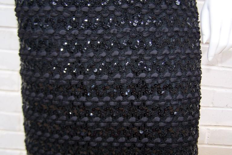 c.1970 Anne Fogarty Bombshell Ribbon Crochet Sequin Dress 4