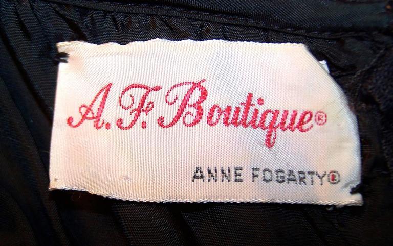 c.1970 Anne Fogarty Bombshell Ribbon Crochet Sequin Dress 5