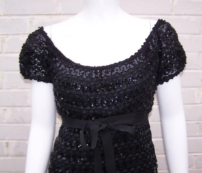 c.1970 Anne Fogarty Bombshell Ribbon Crochet Sequin Dress 2