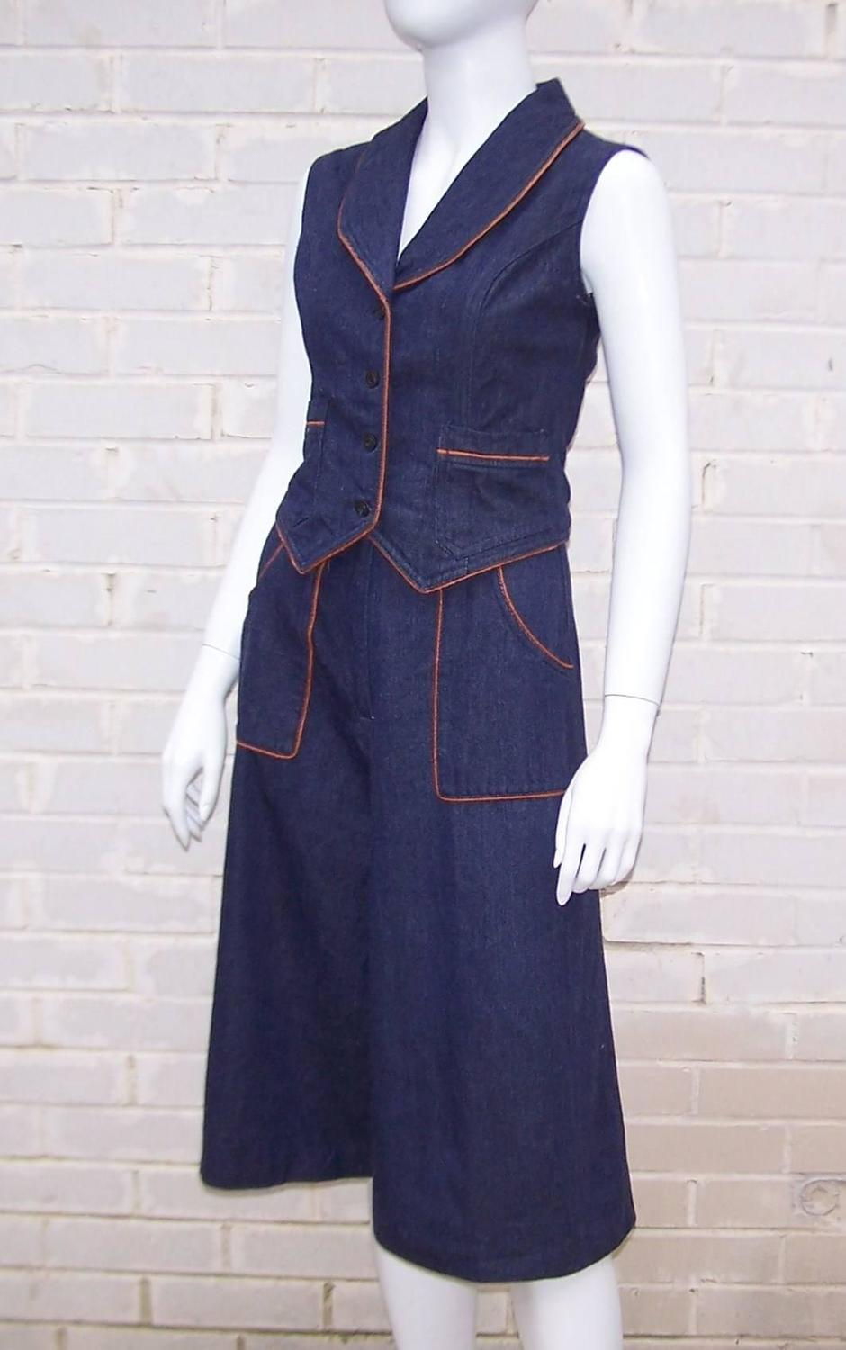 1970s Denim Gaucho Pants and Vest Suit For Sale at 1stdibs