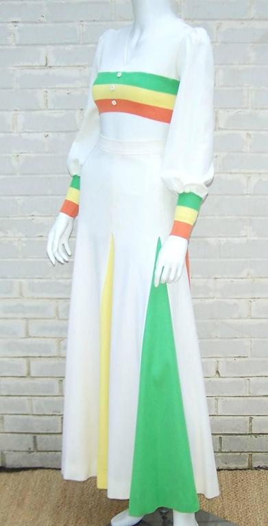 Gray Colorful 1970s 2-Piece Midriff Baring Maxi Skirt & Crop Top  For Sale