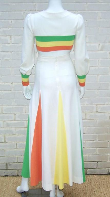 Colorful 1970s 2-Piece Midriff Baring Maxi Skirt & Crop Top  In Excellent Condition For Sale In Atlanta, GA