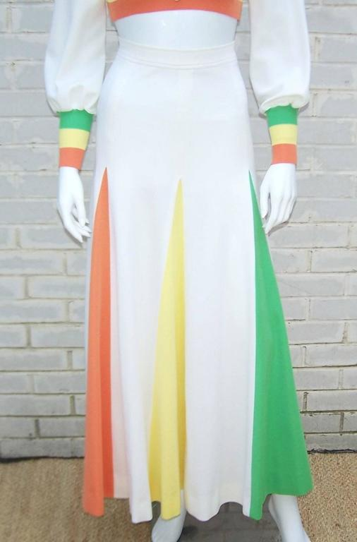 Colorful 1970s 2-Piece Midriff Baring Maxi Skirt & Crop Top  For Sale 2