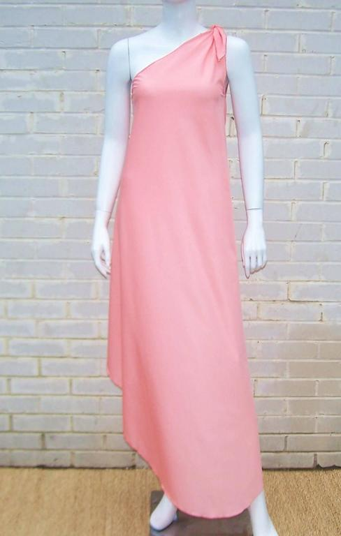 Pink 1970s Stephen Burrows Disco Era Grecian One-Shoulder Gown For Sale