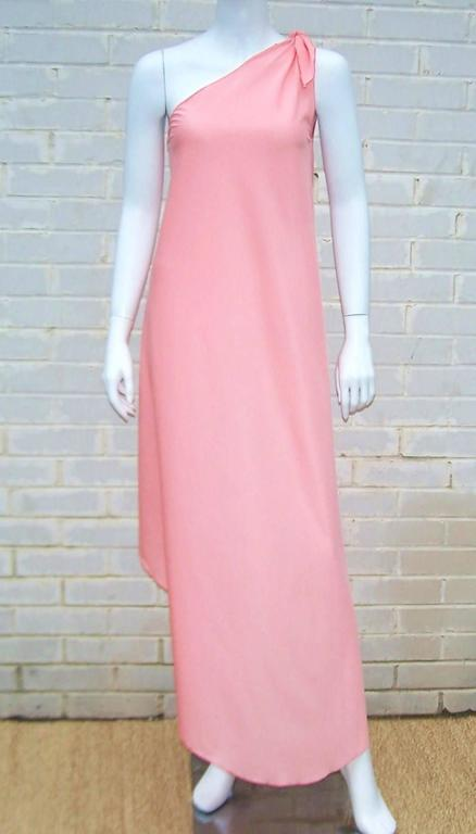 1970s Stephen Burrows Disco Era Grecian One-Shoulder Gown In Excellent Condition For Sale In Atlanta, GA