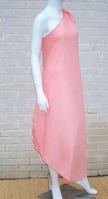 Women's 1970s Stephen Burrows Disco Era Grecian One-Shoulder Gown For Sale